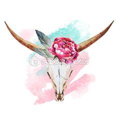 Bull skull watercolor — Stock Illustration #72490813