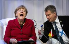 German Chancellor Angela Merkel reacts next to President of Finland Sauli Niinisto during the 2014 Nuclear Security Summit on March 2014 in The Hague, Netherlands. Leaders from around the world. Get premium, high resolution news photos at Getty Images