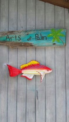Vermillion snapper Palm Frond Art, Palm Fronds, Vermillion Snapper, Fish Art, Clay Crafts, Tree Branches, Fun Ideas, Art Projects, Nautical