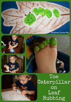 Cute Art Project- make a caterpillar out of toe prints on a real leaf rubbing!