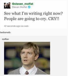 Gah. Not more. I almost cried during the Mind Palace scene in His Last Vow. I don't need my life more emotionally damaged than it already is.