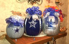 Dallas Cowboys Decorative Craft Pumpkin by SouthernBelleDazzle Dallas Cowboys Blanket, Dallas Cowboys Crafts, Dallas Cowboys Wreath, Dallas Cowboys Football, Pumpkin Crafts, Pumpkin Ideas, Cowboy Crafts, Pumpkin Decorating Contest, Cowboy Christmas