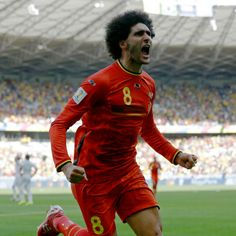 Fellaini celebrates his first goal of 2014, for club or country