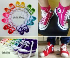 Converse Slippers Free Crochet Pattern