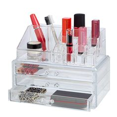 Showcasing multiple compartments and drawers for stowing cosmetics and toiletries, this essential vanity organizer brings order to your powder room or master. Organizer Makeup, Vanity Organization, Makeup Storage, Jewelry Organization, Acrylic Organizer, Mascara Brush, Makeup Deals, Gloss Lipstick, Lipstick Shades
