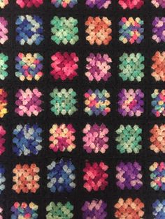 FREE SHIPPING! Autumn Afghan Special! 100% Natural Wool Fiber Pastel Colors on Black Background Granny Squares Blanket by HautelAudubon on Etsy https://www.etsy.com/listing/482928495/free-shipping-autumn-afghan-special-100