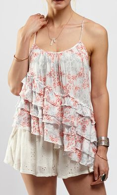 Coral  Ivory Floral Flutter By Tank