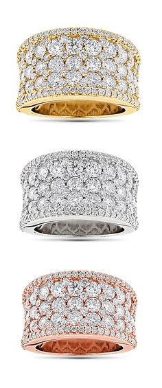 This Iced Out Pave Diamond Ring in 14K gold weighs approximately 9 grams and showcases 3.93 carats of dazzling round diamonds. Featuring a luxurious pave setting and wide band design, this fabulous diamond ring is available in 14K white, yellow and rose gold.