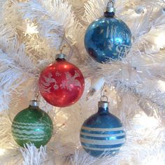 Vintage Glass Ornaments set of 4 CIJ blue glass by AngelasArtistic, $10.00