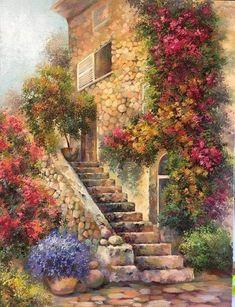 Living home decoration Watercolor Landscape, Watercolor Flowers, Landscape Paintings, Watercolor Paintings, Beautiful Gardens, Beautiful Landscapes, Beautiful Paintings Of Nature, Beautiful Places, Beautiful Pictures