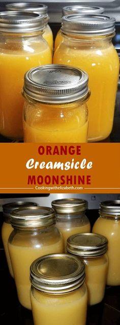 Flavored Moonshine Recipes, Homemade Moonshine, Fireball Recipes, Making Moonshine, How To Make Moonshine, Creamsicle Drink, Orange Creamsicle, Orange Juice, Juice