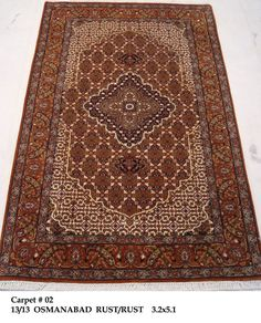 Ivory-Rust 3' x 5' Hand Woven Osmanabad Wool & Silk Tabriz Delightful Area Rug