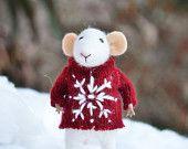 Kleine Winter Weihnachten Maus - Weihnachten-saisonale Ornament-filzen Winterträume - bereit, Schiff