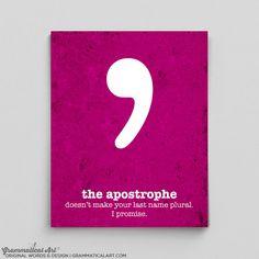 Typography Print Apostrophe Typography Poster by GrammaticalArt