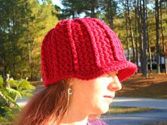 Cranberry Beanie Cap Hat  Ready to Ship by LilacsLovables on Etsy, $25.00