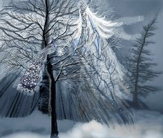 Winterfee mit Wintervogel