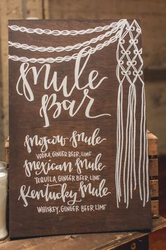 Bar menu with macrame illustration - photo Continuum Photography