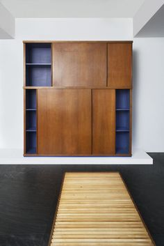 Available for sale from Galerie Downtown - François Laffanour, Charlotte Perriand, Cupboard with sliding doors Oak, 96 × 95 × 20 in Charlotte Perriand, Furniture Styles, Modern Furniture, Home Furniture, Furniture Design, Wooden Wardrobe, Sliding Doors, Cupboard, Sideboard