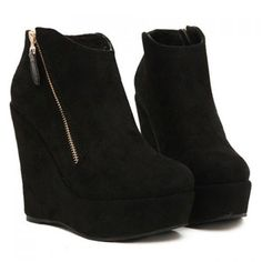 Fashion Zip and Wedge Design Women's Short Boots, BLACK, 39 in Boots | DressLily.com