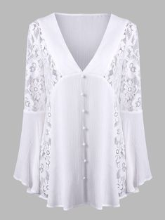 Lace Insert Flare Sleeve Crinkle Blouse - WHITE M