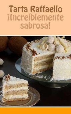 A Raffaello Cake To Satisfy Your Coconut And White Chocolate Craving Raffaello Cake Recipe, Almond Coconut Cake, Food Cakes, Sweet Cakes, Delicious Desserts, Cake Recipes, Cake Decorating, Bakery, Sweet Treats