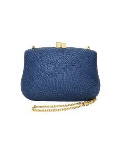 Clutch de palha azul Serpui Marie