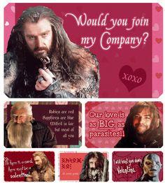 The Hobbit-yes, Thorin! My Funny Valentine, Nerdy Valentines, Valentine Cards, Gandalf, Legolas, The Hobbit Movies, O Hobbit, Hobbit Dwarves, Hobbit Funny
