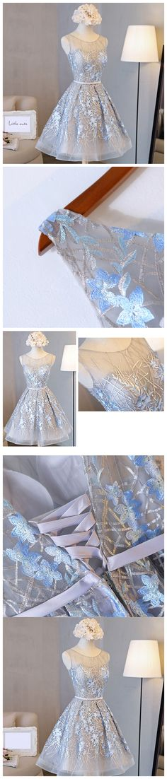 A-line Scoop Short Mini Tulle Short Prom Dress Homecoming Dresses