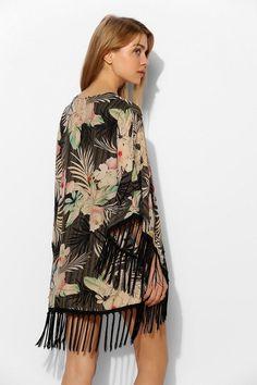 I. Madeline Parrot-Print Fringe Kimono Jacket