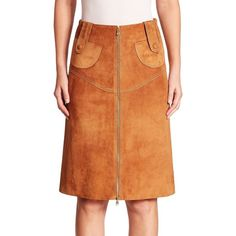Derek Lam Suede Buckle Pencil Skirt ($2,965) ❤ liked on Polyvore featuring skirts, apparel & accessories, chestnut, red pencil skirt, long skirts, suede pencil skirt, zipper skirt and red knee length pencil skirt