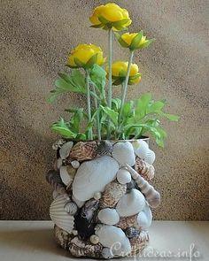 Seashell Art, Seashell Crafts, Beach Crafts, Diy Home Crafts, Garden Crafts, Garden Art, Diy Para A Casa, Seashell Projects, Creation Deco