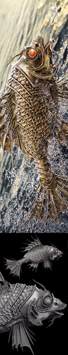 GoldFish by Aleksandr Kuskov, via Behance
