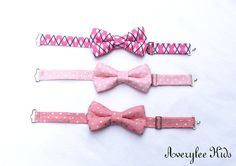 Boys Bow Tie, Pink and Gray Bow Tie for Toddlers to Teens, Blush Pink, Pink Argyle Bow Tie, Wedding Ring Bearer, Grey and Pink Bowtie