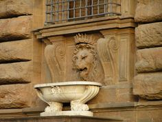 The lion fountain in the window frame of Pitti Palace in Florence