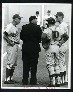 WALTER ALSTON Confers w/ Umpire 1967 Vintage Press Photo Los Angeles Dodgers