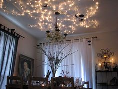 """Harry Potter ; fairy lights on ceiling, also hanging """"candles"""" from ceiling"""