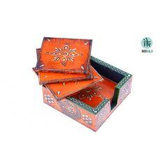 Name : Set of 5 Orange Colored Jaipuri Coasters with Box Price : Rs 589 Buy Now at : http://www.indikala.com/lamps-coasters/jaipuri-wooden-coasters-5.html #Ethnic #Luxury #BuyOnline #India