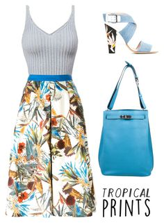 """tropical prints"" by chintyar ❤ liked on Polyvore featuring I'm Isola Marras, Hermès, Fendi, tropicalprints and hottropics"