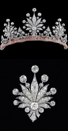Diamond diadem, total approx. 28 ct. Gold 585, silver 800, old European-, old-cut diamonds and octagonal diamonds, ca. 1900, all parts removable, wearable as brooches, earrings, 83 g