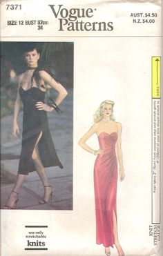 52a3aff6582 70s Vogue 7371 Evening Strapless Dress Sewing Pattern Size 12 Uncut for  sale online