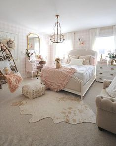 pink gingham wallpaper, hide rug, pink and gold girl room Gold Euro shams and a knit pillow from HomeGoods help add a cozy touch to this pink and white girls bedroom. Cute Bedroom Ideas, Girl Bedroom Designs, Bedroom Ideas For Tweens, Girls Room Design, Bedroom Ideas Rose Gold, Girls Pink Bedroom Ideas, Blush And Gold Bedroom, Light Pink Bedrooms, Bedroom Inspiration