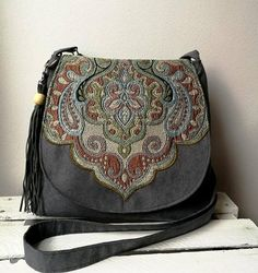 Gray oriental bag Boho messenger bag Oriental purse Evening