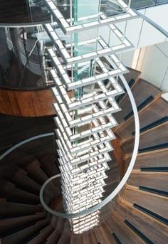A chandelier incorporated into a staircase.