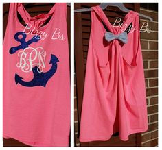 Monogrammed Anchor Racerback Tank with Bow by BizzyBsMongramsCo