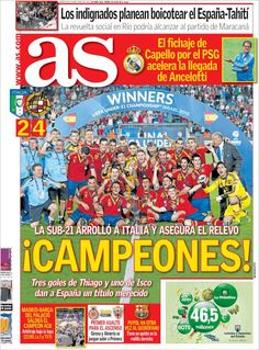 Los Titulares y Portadas de Noticias Destacadas Españolas del 19 de Junio de 2013 del Diario Deportivo As ¿Que le parecio esta Portada de este Diario Español?