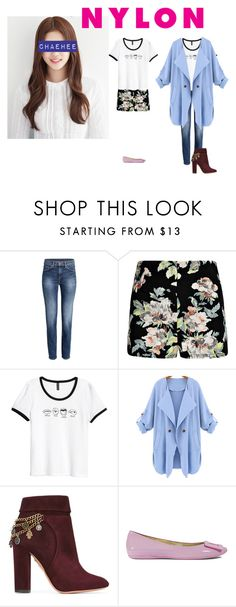 """Transition Date Look"" by princessmax on Polyvore featuring Boohoo, Hudson Jeans, Aquazzura and Roger Vivier"