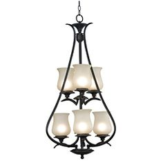 @Overstock - This Hardee light has a contemporary style with an organic twist and unique angled arms. This animated fixture presents lyre-like curves that are echoed in the clean, bold, pale glass shades.http://www.overstock.com/Home-Garden/Hardee-6-light-Oil-Rubbed-Bronze-Foyer-Chandelier/6286093/product.html?CID=214117 $222.99