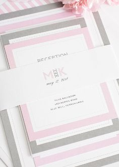 Wedding Invitations in Gray and Pink Love the modern logo! #pinkandgraywedding #modernlogo #weddinglogo #pinkandgrayweddinginvitations