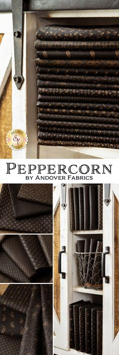 Peppercorn is a beautiful black and gold collection by Andover Fabrics. 100% Cotton. Andover Fabrics, Shabby Fabrics, Fabric Yarn, Embroidery Thread, Black Fabric, Quilts, Cotton, Gold, Textiles