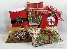 Holiday Pillow Boxes by @kittie747 for the #EllenHutsonLLC CLASSroom blog.